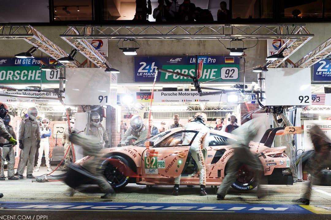 Porsche 911 RSR, Porsche GT Team (92), Michael Christensen (DK), Kevin Estre (F) Laurens Vanthoor (B), Le Mans 2018 Le Mans: 24 Hours of Le Mans 2018 on June, 12, 2018, (Photo by Antonin Vincent )