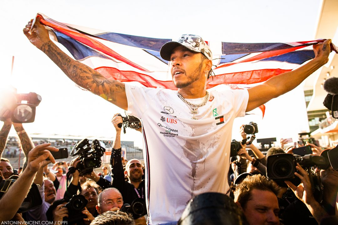 celebration of the sixth World Champion Title of HAMILTON Lewis (gbr), Mercedes AMG F1 GP W10 Hybrid EQ Power+, portrait during the 2019 Formula One World Championship, United States of America Grand Prix from november 1 to 3 in Austin, Texas, USA - Photo Antonin Vincent / DPPI